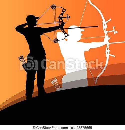 射箭, 婦女, 摘要, 年輕, 黑色半面畫像, 活躍, 運動, 人 - csp23375669