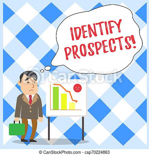 将来, 概念, テキスト, 顧客, 識別しなさい, 地位, prospects., 報告書, 執筆, 理想, ドナー, ビジネス, 事務員, 可能, 単語, 低下, 場合, バー, whiteboard, chart., クライアント, ビジネスマン - csp70224863