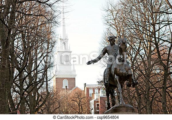 尊敬しなさい, ボストン, ポール, 像 - csp9654804