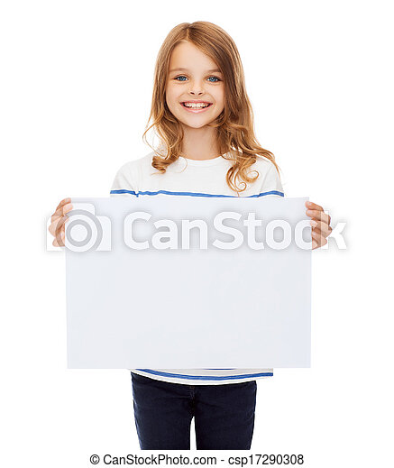 小さい子供, ペーパー, 保有物, ブランク, 微笑, 白 - csp17290308