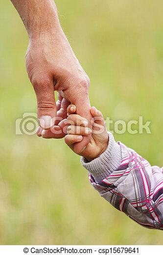 小さい子供, 手掛かり, 親, 手 - csp15679641