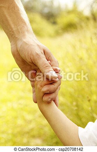 小さい子供, 手掛かり, 親, 手 - csp20708142