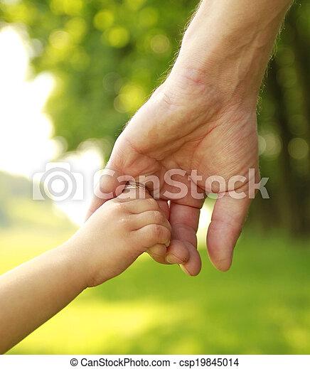 小さい子供, 手掛かり, 親, 手 - csp19845014