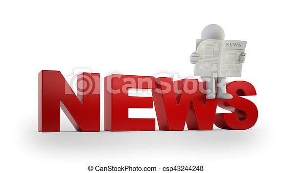 小さい, ニュース, 3d, -, 人々 - csp43244248