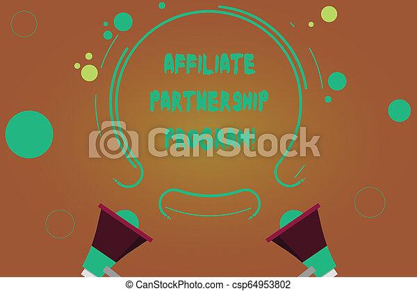 小さい, 促進しなさい, アウトライン, ビジネス, 写真, 提示, 協力, 2, jointly, 執筆, それぞれ, showcasing, circles., プロダクト, 手, 他, 概念, affiliate, program., メガホン, 円 - csp64953802