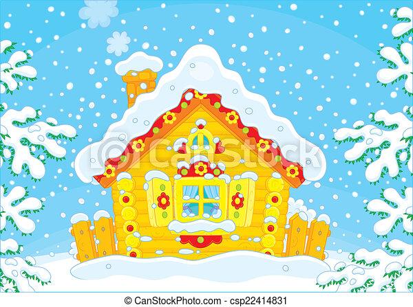小さい, 小屋, 丸太, 雪 - csp22414831