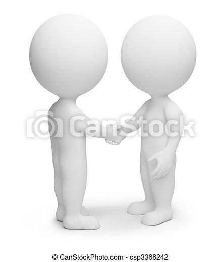 小さい, 握手, 3d, -, 人々 - csp3388242