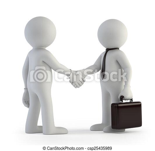 小さい, 握手, 3d, -, 人々 - csp25435989