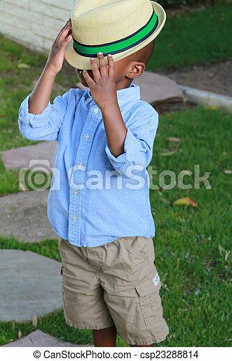 小さい 男の子, 帽子, 黒 - csp23288814