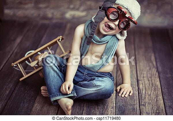 小さい, 男の子, 遊び - csp11719480