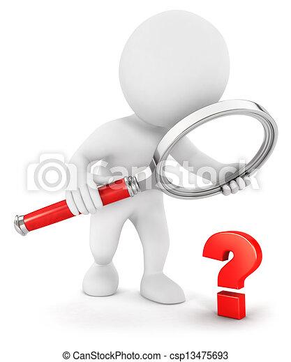 小さい, 白, 3d, 質問, 人々 - csp13475693