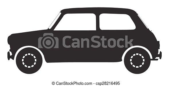 小さい 車 シルエット シルエット 自動車 隔離された 背景 小さい 白