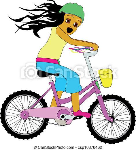 小女孩, bicycle. - csp10378462