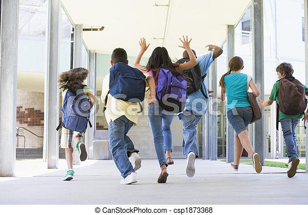 小学校, 外, 動くこと, 生徒 - csp1873368