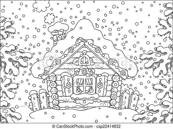 小屋, 雪, 丸太 - csp22414832