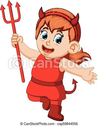 小悪魔, ハロウィーン, 子供, 衣装, 赤 - csp59844556