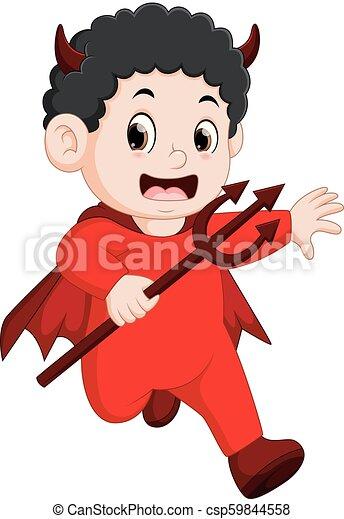 小悪魔, ハロウィーン, 子供, 衣装, 赤 - csp59844558