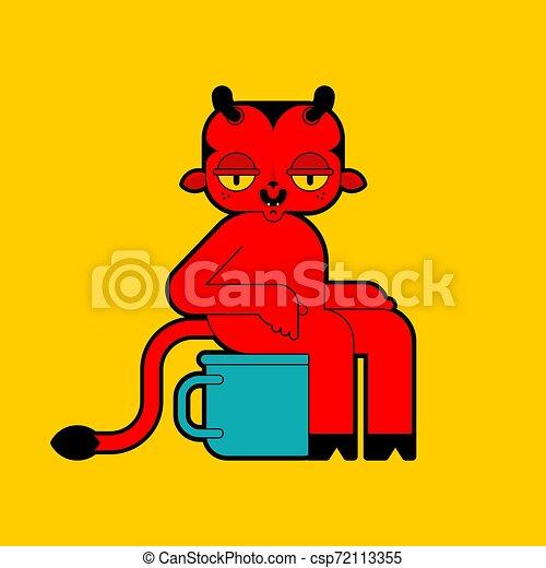 小悪魔, 悪魔, potty, 赤ん坊, toilet., 赤 - csp72113355