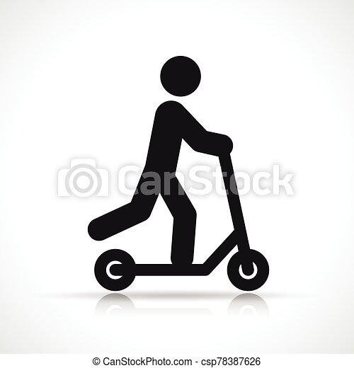 小摩托车, 矢量, 设计, 符号, 图标 - csp78387626