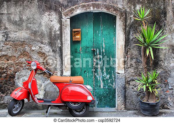 小摩托车, 红 - csp3592724