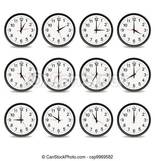 小時, 鐘, 給予, 插圖, 矢量, 每 - csp9969582