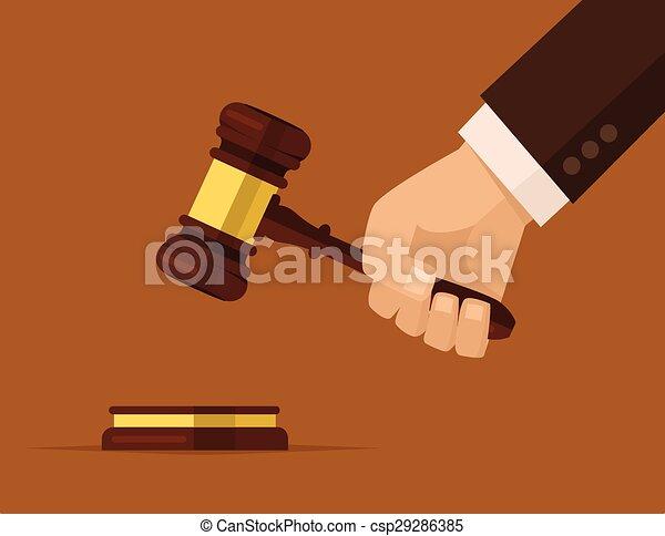 小槌, 裁判官, 手を持つ - csp29286385