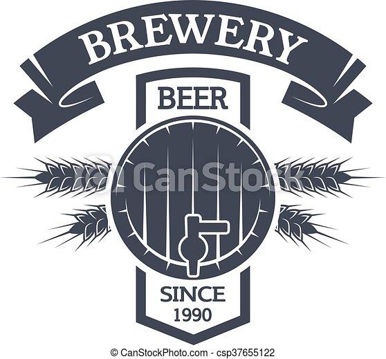 小樽, beer., 醸造, 型, emblem. - csp37655122