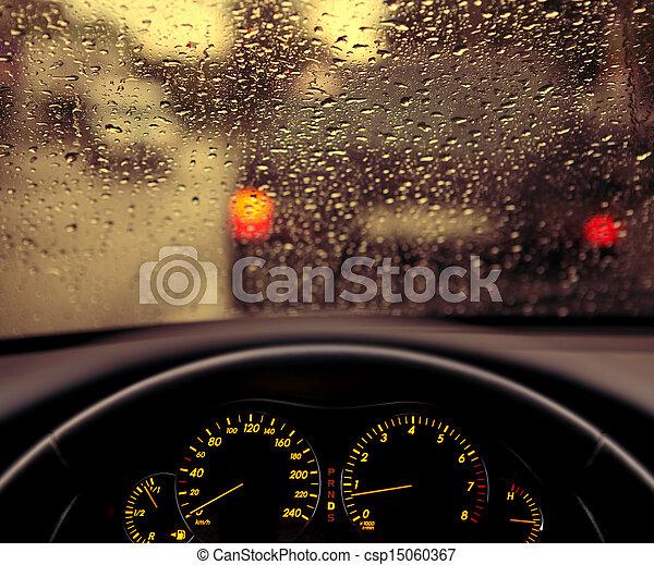 小滴, フロントガラス, 雨, 自動車 - csp15060367