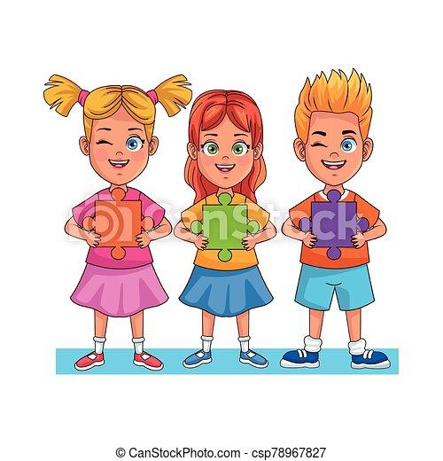 小片, わずかしか, 困惑, avatars, 幸せ, 特徴, 子供 - csp78967827