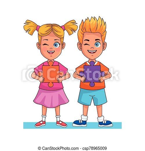 小片, わずかしか, 困惑, avatars, 幸せ, 特徴, 子供 - csp78965009