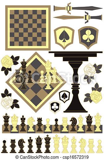 小片, セット, チェス 板 - csp16572319