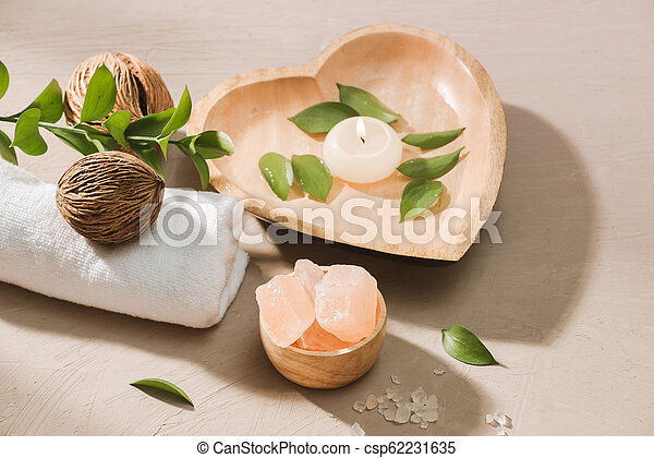 小石, 燃焼, 木製である, エステ, 設定, 背景, water., ろうそく, 塩 - csp62231635