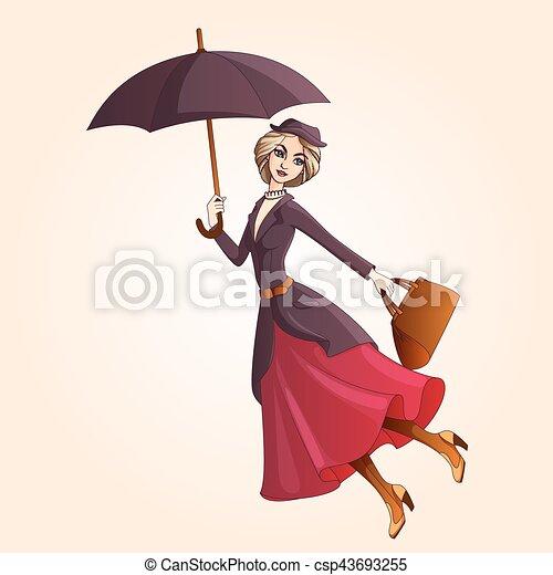 小説, 傘, 結婚しなさい, 飛行, 特徴, poppins - csp43693255