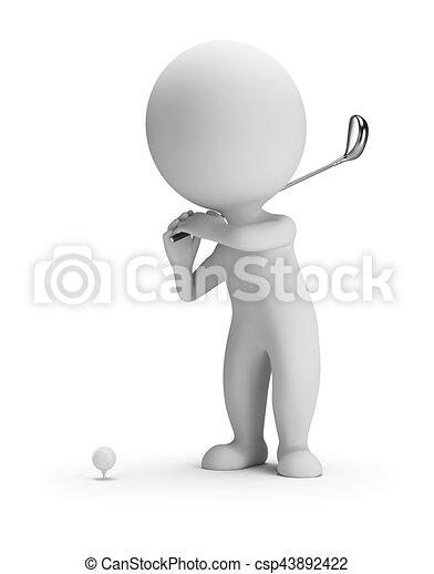 小, 打高爾夫球, -, 3d, 人們 - csp43892422