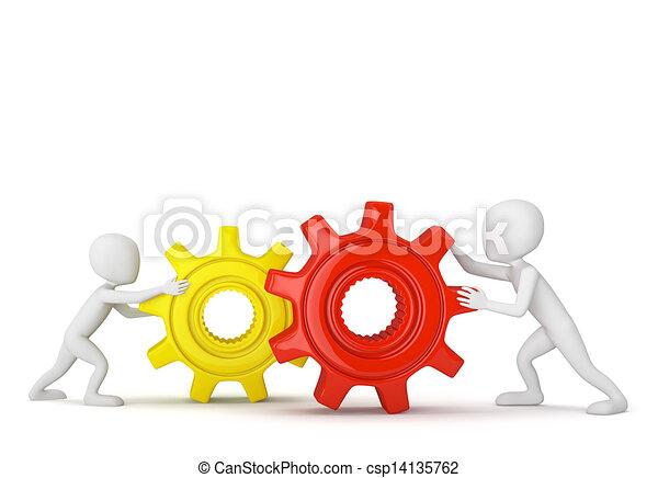 小, gears., 3d, 人们 - csp14135762