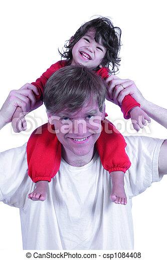 届く, 肩, 彼の, 父, 息子 - csp1084408