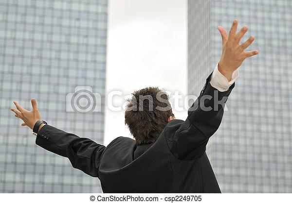 屋外, ビジネスマン, 肖像画, 幸せ, 若い - csp2249705