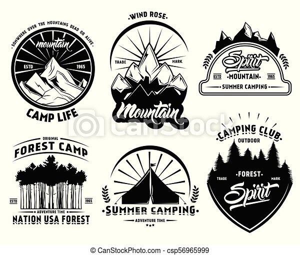 屋外, ラベル, セット, キャンプ - csp56965999