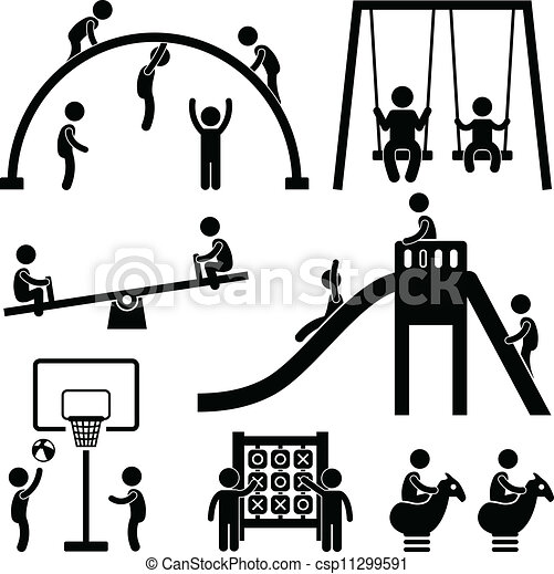 屋外, 公園, 子供, 運動場 - csp11299591