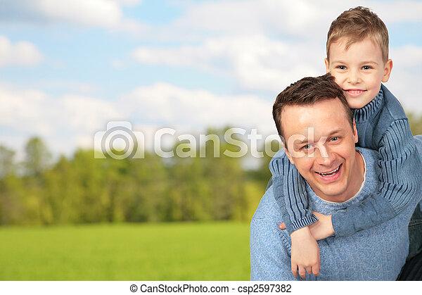 屋外, 父, 子供 - csp2597382