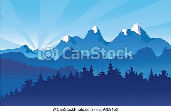 山の景色, 雪, 高山 - csp9289152