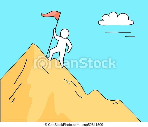 山 イラスト 高く ベクトル 上昇 人 青い山地 シルエット 上