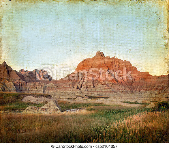 山, グランジ, バッドランド, 背景 - csp2104857