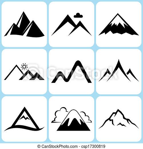山, セット, アイコン - csp17300819