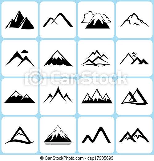 山, セット, アイコン - csp17305693