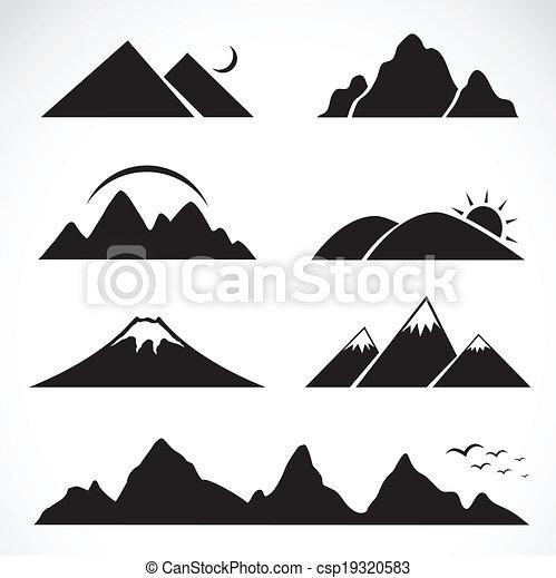 山, セット, アイコン - csp19320583