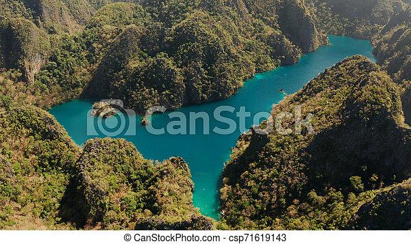 山, フィリピン, palawan., 島, kayangan, 湖, トロピカル, coron - csp71619143