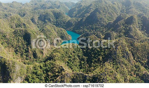 山, フィリピン, palawan., 島, kayangan, 湖, トロピカル, coron - csp71619702