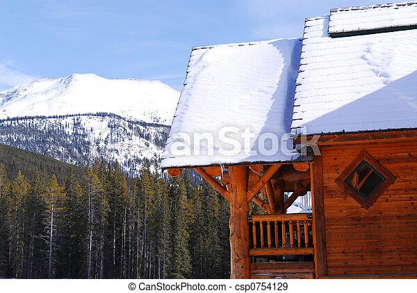 山, 丸太小屋 - csp0754129