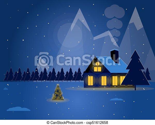 山 冬 雪が多い 家 夜 イラスト 木 下に クリスマス 風景